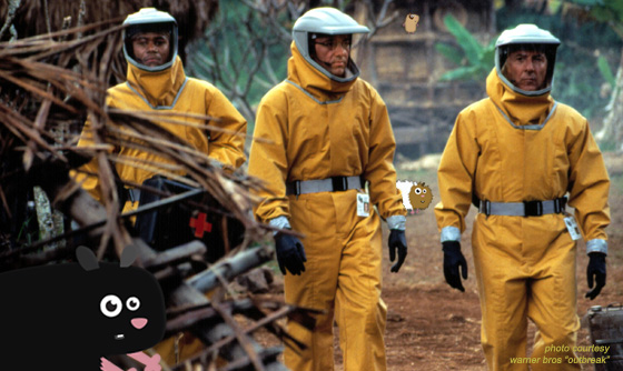Photo of scene from Outbreak with Dustin Hoffman and the HappyCavy guinea pigs